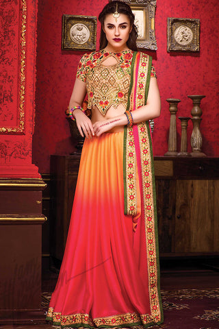 Indi Fashion Orange Hot Pink and Beige Chiffon Party Wear Saree