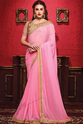 Indi Fashion Pink and Gold Georgette Party Wear Saree