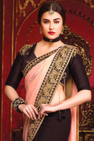 Indi Fashion Glazed Peach and Wine Black Chiffon Party Wear Saree