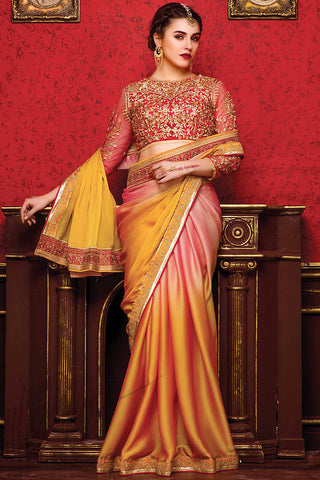 Indi Fashion Pink and Mustard Shaded Chiffon Party Wear Saree