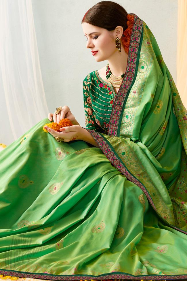 Indi Fashion Green Silk Jacquard Party Wear Saree