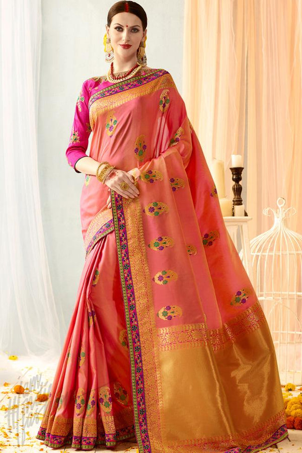 Indi Fashion Peach and Magenta Silk Jacquard Party Wear Saree