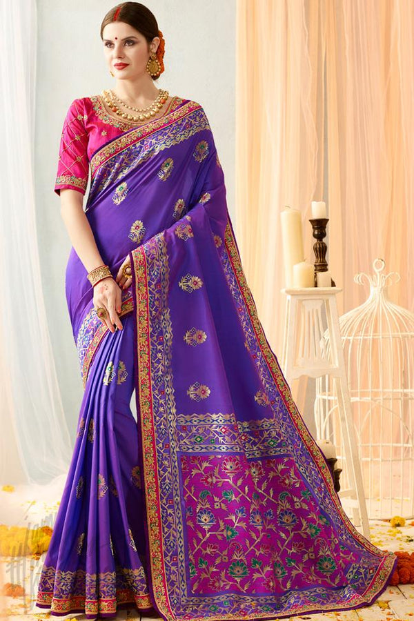 Indi Fashion Purple and Pink Silk Jacquard Party Wear Saree