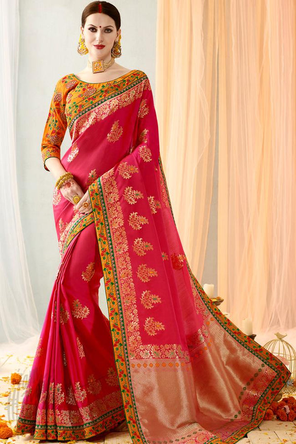 Indi Fashion Pink and Orange Silk Jacquard Party Wear Saree