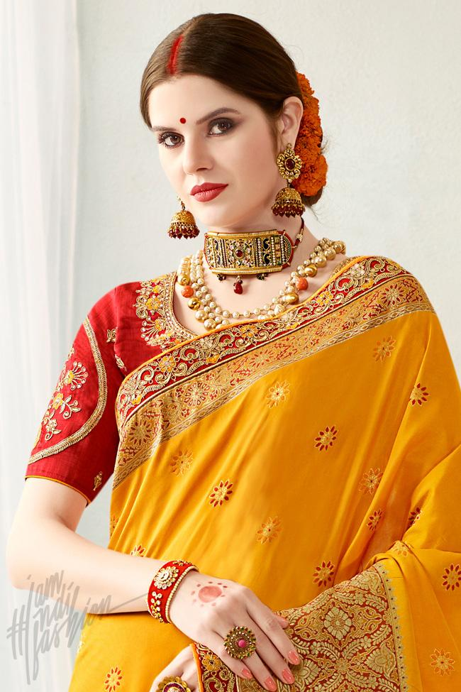 Indi Fashion Mustard Yellow and Red Silk Jacquard Party Wear Saree