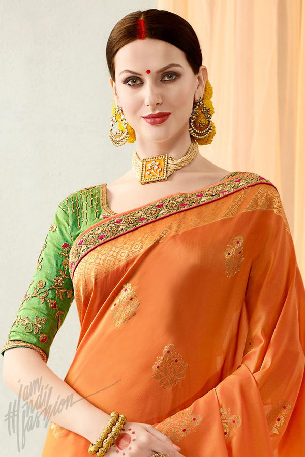 Indi Fashion Orange and Green Silk Jacquard Party Wear Saree