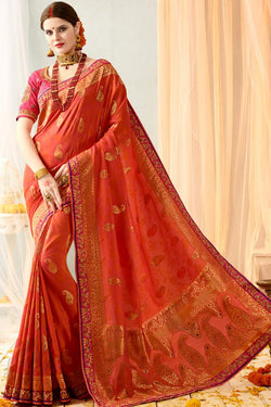 Indi Fashion Red and Pink Silk Jacquard Party Wear Saree