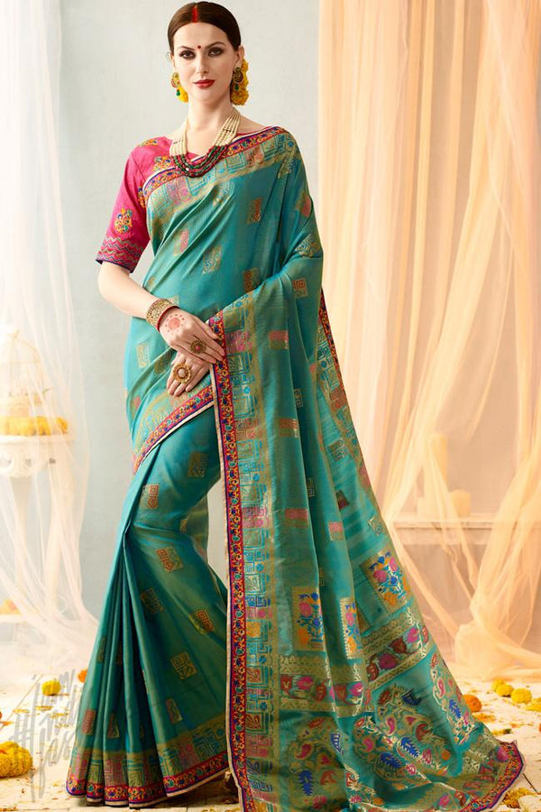 Indi Fashion Sky Blue and Pink Silk Jacquard Party Wear Saree