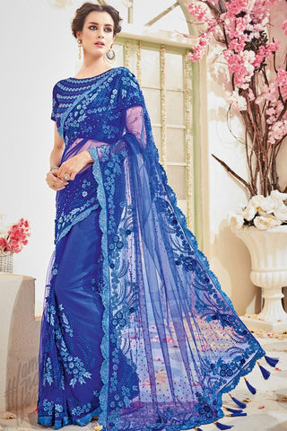 Indi Fashion Blue Net and Silk Wedding Saree