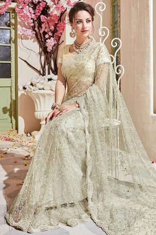 Indi Fashion Silver Net and Silk Wedding Saree