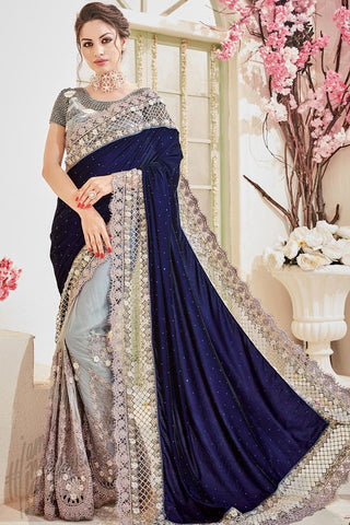 Indi Fashion Gray and Navy Blue Velvet and Net Wedding Saree