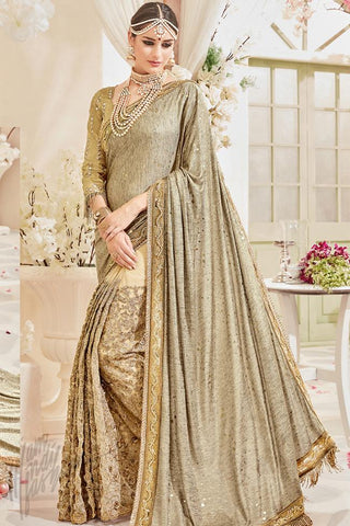 Indi Fashion Gold Net and Silk Wedding Saree
