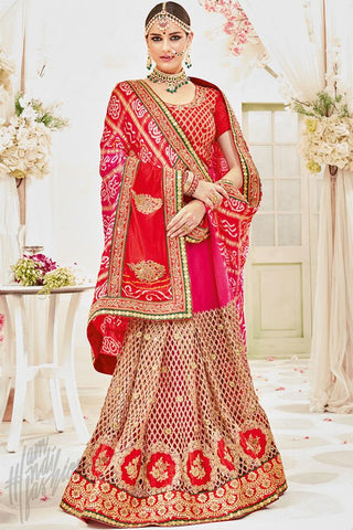 Indi Fashion Red Net and Silk Wedding Saree