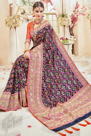 Indi Fashion Orange and Blue Silk Wedding Saree