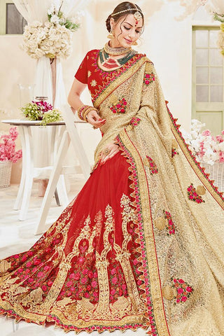 Indi Fashion Red and Beige Net and Silk Wedding Saree