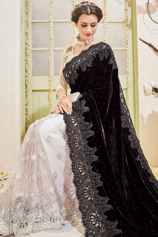 Buy White and Black Velvet Wedding Saree Online at indi.fashion