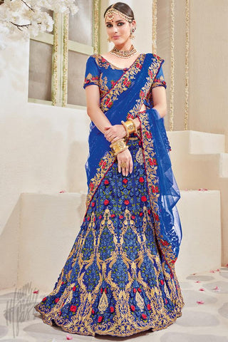 Indi Fashion Royal Blue Net Wedding Lehenga Set