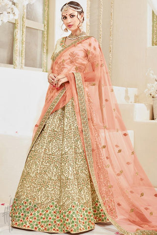 Indi Fashion Cream and Peach Satin and Net Wedding Lehenga Set