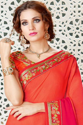 Indi Fashion Orange Magenta Ombre Silk Party Wear Saree