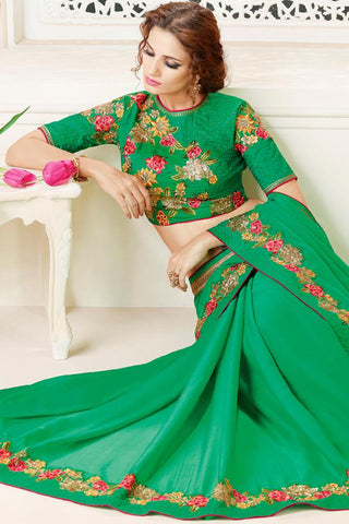 Indi Fashion Green Chiffon Party Wear Saree