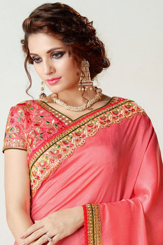 Indi Fashion Pink Silk Party Wear Saree