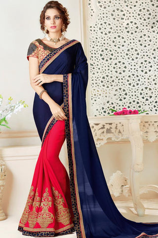Indi Fashion Blue and Red Half and Half Chiffon Party Wear Saree