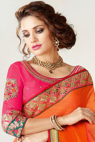 Indi Fashion Magenta and Orange Shaded Chiffon Party Wear Saree