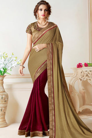 Indi Fashion Heena Green and Wine Half and Half Georgette Party Wear Saree