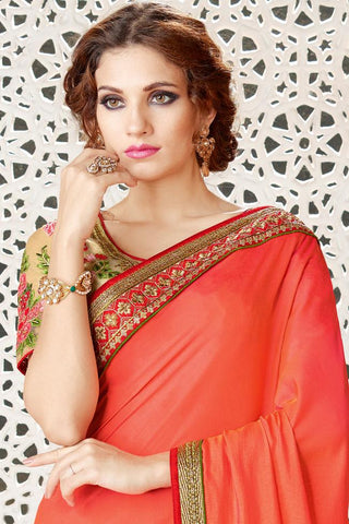 Indi Fashion Orange and Beige Georgette Party Wear Saree