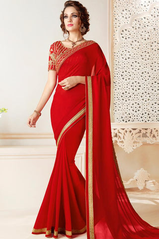 Indi Fashion Red Georgette Party Wear Saree