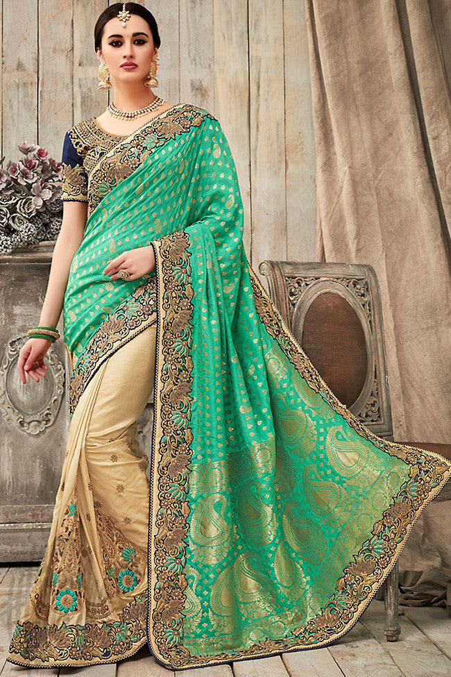 Indi Fashion Green Beige and Navy Blue Silk Saree