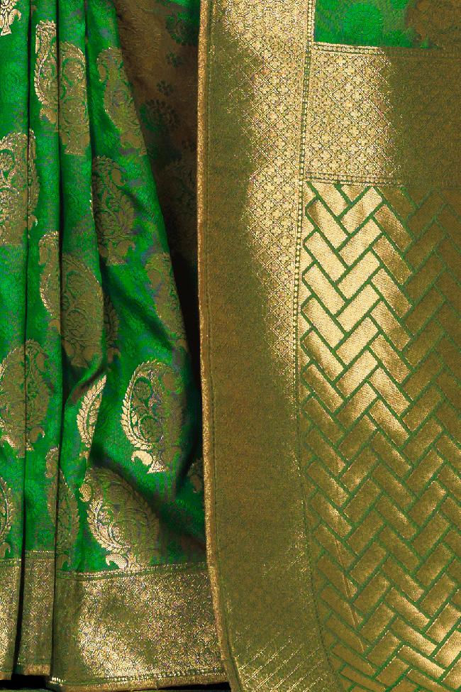 Indi Fashion Green Kanchana Silk Party Wear Saree