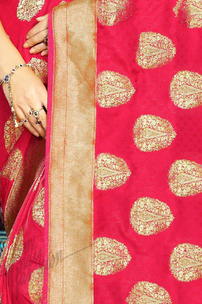 Indi Fashion Hot Pink Kanchana Silk Party Wear Saree