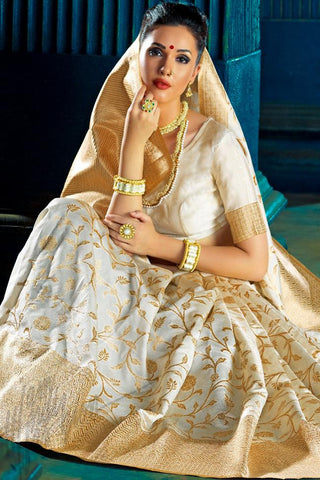 Buy White Kanchana Silk Party Wear Saree Online at indi.fashion