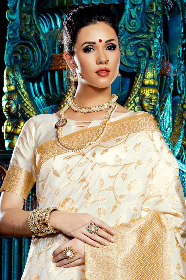 Indi Fashion White Kanchana Silk Party Wear Saree