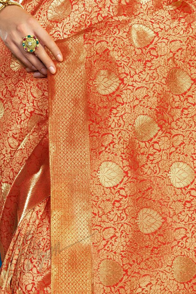 Indi Fashion Rust Kanchana Silk Party Wear Saree