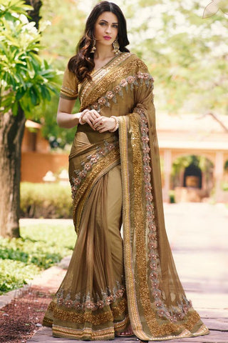 Indi Fashion Coffee Net Saree
