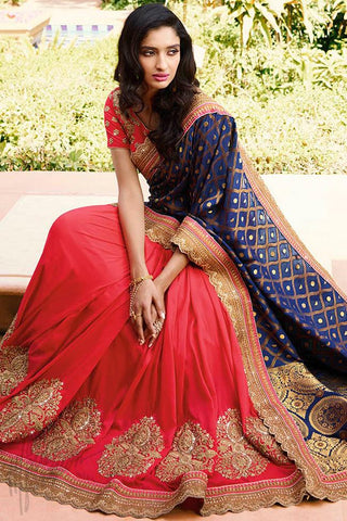 Indi Fashion Blue and Pink Banarasi Viscose half and Half Saree