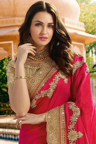 Indi Fashion Beige and Red Satin Chiffon Half and Half Saree