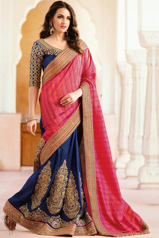 Indi Fashion Pink and Blue Art Silk Half and Half Saree