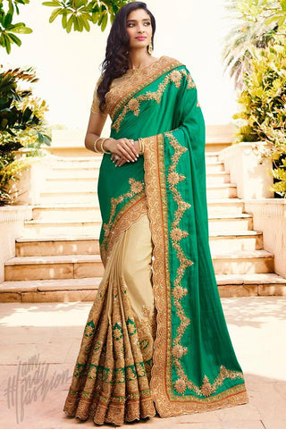 Indi Fashion Green and Beige Satin Chiffon Half and Half Saree
