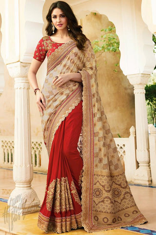 Indi Fashion Cream and Red Banarasi Brocade Half and Half Saree