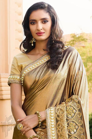 Indi Fashion Gold Shimmer Net Saree
