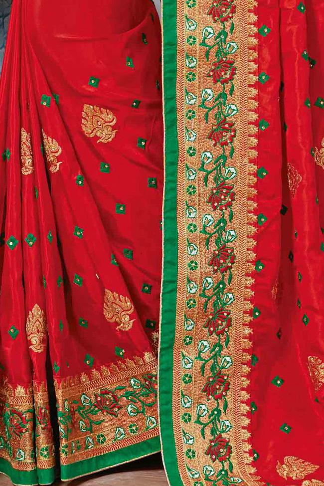 Indi Fashion Red and Green Crepe Silk Party Wear Saree