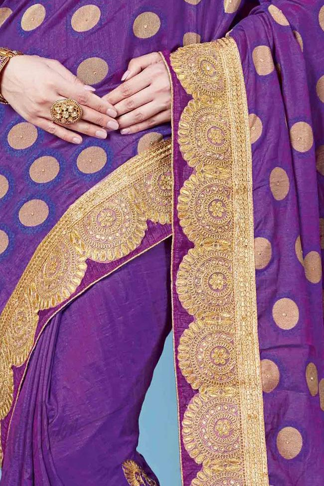 Indi Fashion Purple Jacquard and Silk Party Wear Saree