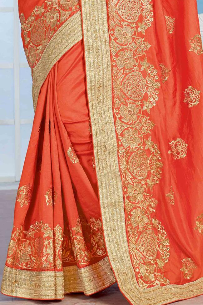 Indi Fashion Red and Beige Crepe Silk Party Wear Saree