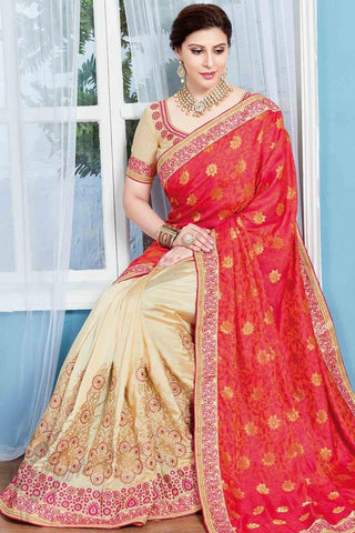 Indi Fashion Pink and Beige Jacquard and Silk Party Wear Saree