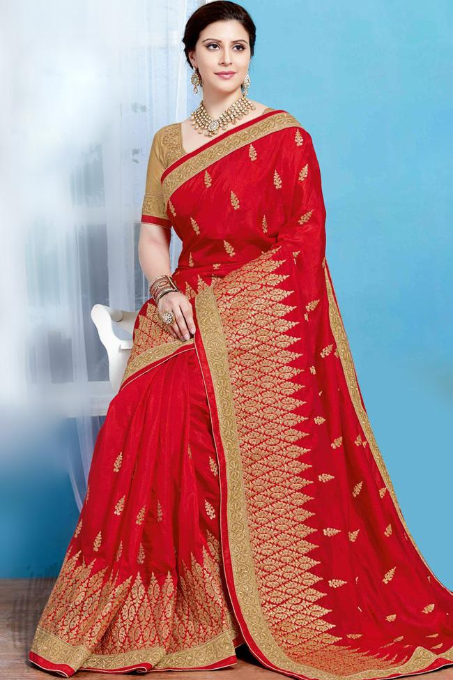 Indi Fashion Red and Gold Crepe Silk Party Wear Saree