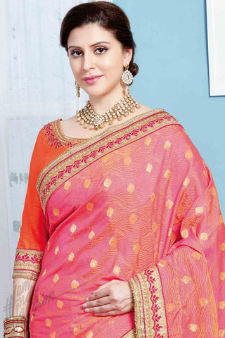 Indi Fashion Pink and Orange Jacquard and Silk Party Wear Saree