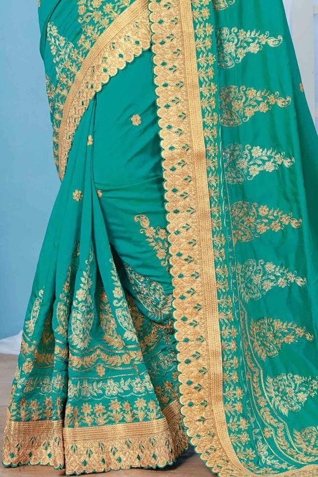 Indi Fashion Green and Gold Crepe Silk Party Wear Saree